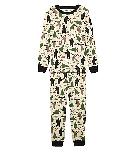 HATLEY Lumberjack print cotton pyjamas 4-12 years (Cream