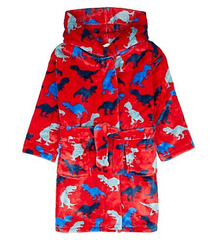 HATLEY Dinosaur cotton-fleece dressing gown (Red