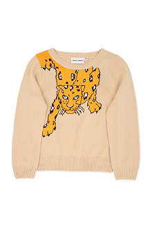 MINI RODINI Long-sleeved leopard knitted sweater 2-11 years