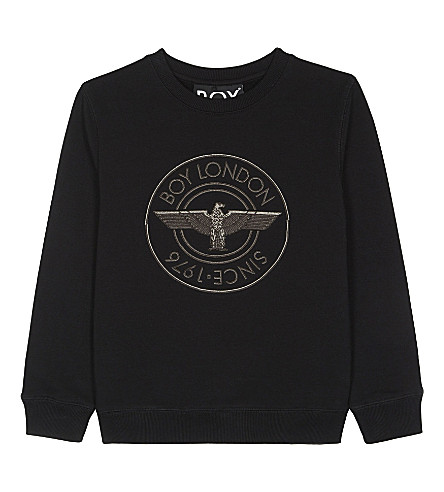 BOY LONDON 1976 appliquéd cotton-blend jumper 3-12 years (Black/black