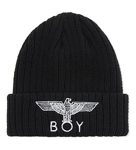 BOY LONDON 鹰针织毛线帽 (黑/白