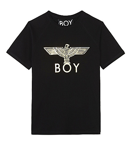 BOY LONDON Foil eagle cotton T-shirt 3-12 years (Black/gold