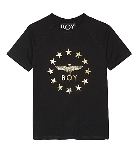 BOY LONDON Globe Stars cotton T-shirt 3-12 years (Black/gold