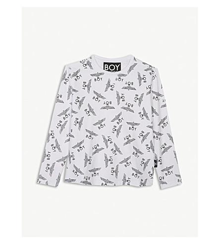 BOY LONDON Eagle logo cotton long sleeve T-shirt 3-16 years (White