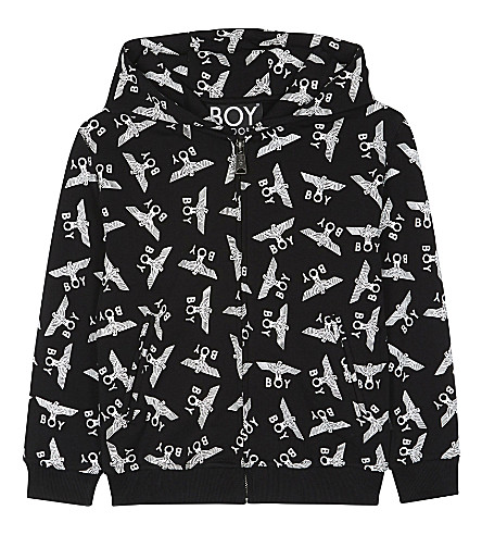 BOY LONDON Repeating eagle logo cotton-blend hoody 3-12 years (Black/white