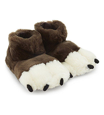 JOULES Monster feet slippers 4-9 years (Bear+brown