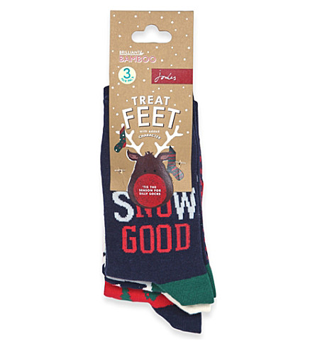 JOULES Pack of 3 Brilliant Bamboo Christmas socks, 4-11 years (Christmas