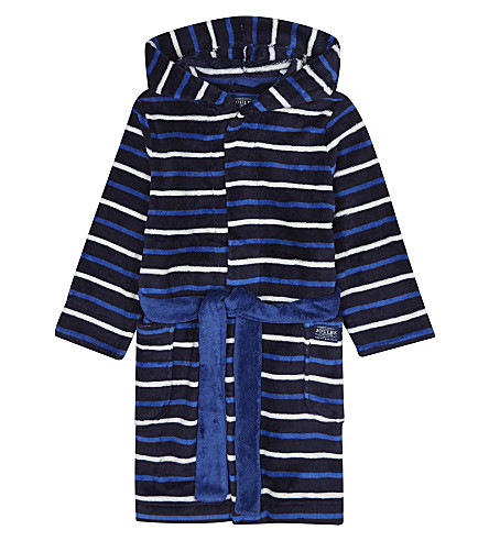 JOULES Stripe print dressing gown 4-12 years (French+navy+stripe