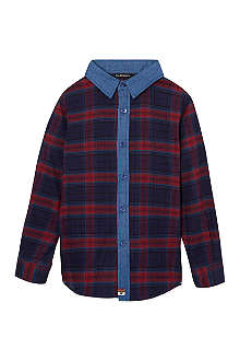 LA MINIATURA Contrast collar plaid shirt 2-14 years