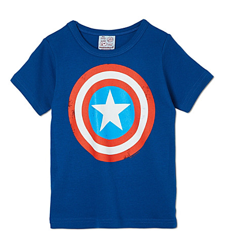 LOGOSHIRT Captain America shield t-shirt 18 months-12 years (Blue