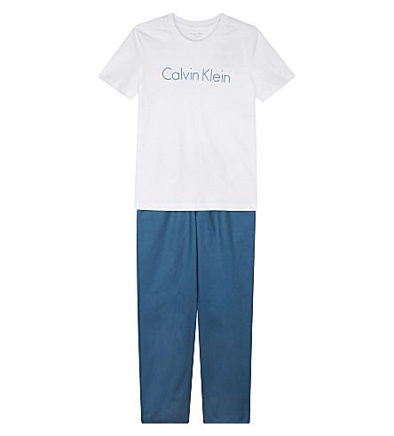 CALVIN KLEIN Logo print cotton pyjamas 4-16 years (Blue/white