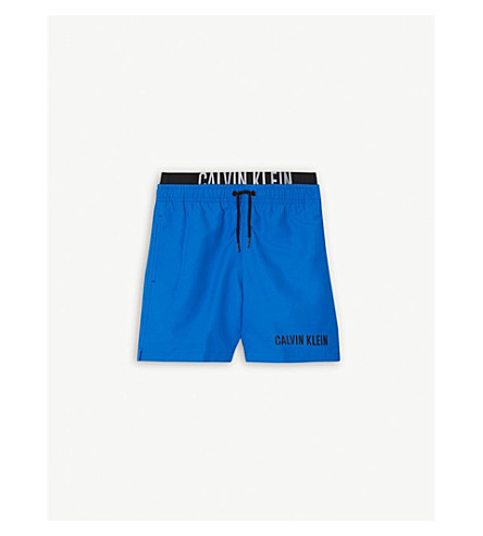 CALVIN KLEIN Intense Power double-waistband swim shorts 4-16 years (18-4245+electric+blue