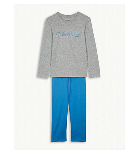 CALVIN KLEIN Logo print cotton pyjama set 4-16 years (Grey+heather/blue+jewel