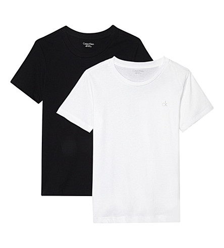 CALVIN KLEIN Logo cotton T-shirts pack of two (Black/white