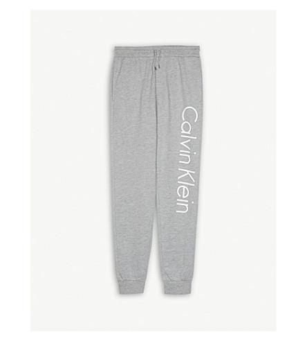 CALVIN KLEIN Logo cotton-blend jogging bottoms 4-16 years (Grey+heather