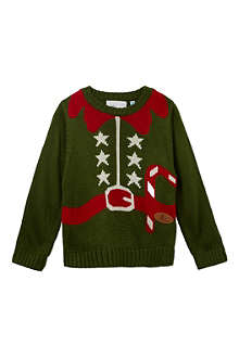 CRAZY GRANNY Knitted Elf Outfit jumper 3-10 years