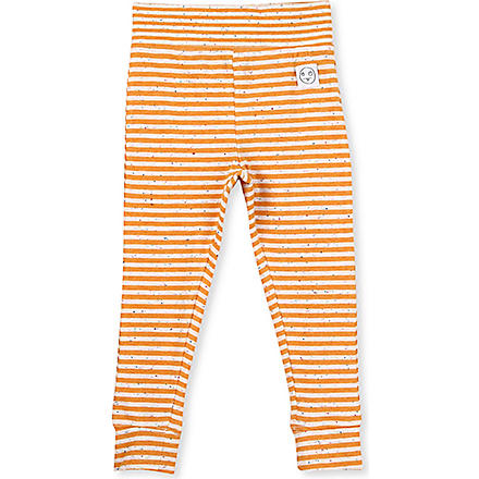 INDIKIDUAL Striped stretch-cotton leggings 2-7 years (Orange / white flex