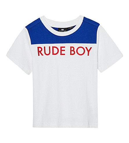 RUFF AND HUDDLE Rude Boy t-shirt 2-11 years (White/ blue