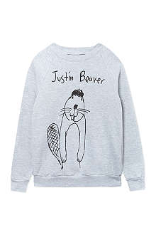 BLACK SCORE Justin Beaver sweatshirt 2-12 years
