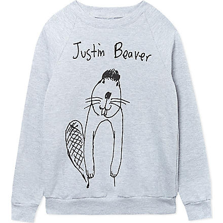 BLACK SCORE Justin Beaver sweatshirt 2-12 years (Grey