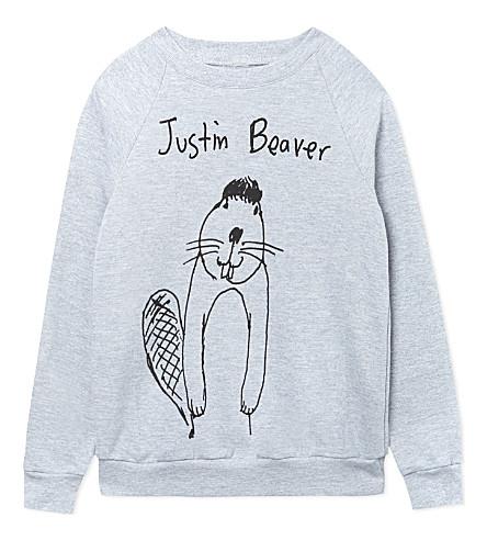 BLACK SCORE Justin Beaver sweatshirt 2-12 years (Grey
