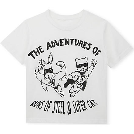 BLACK SCORE Buns of Steel cotton t-shirt 3-12 years (White