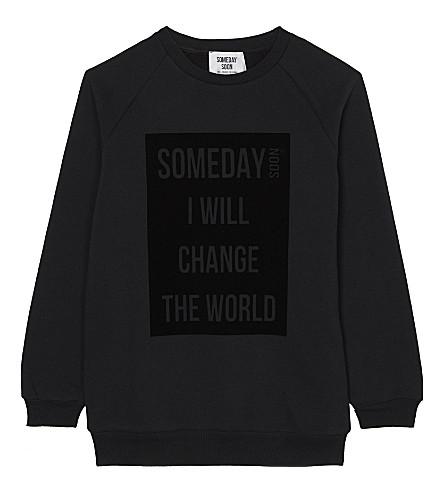 SOMEDAY SOON Ivan slogan jumper 4-14 years (Black