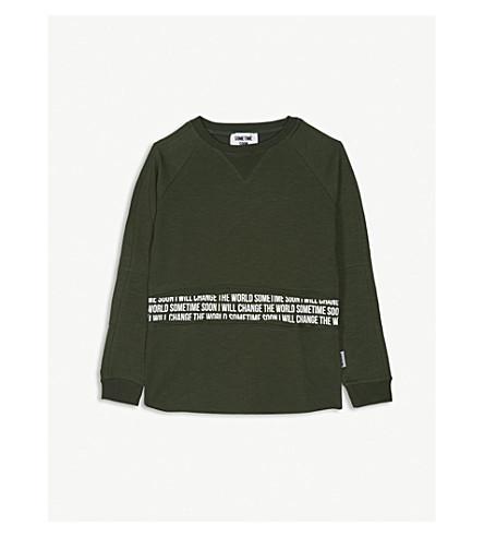 SOMETIME SOON标语毛衣 4-14 岁 (绿色
