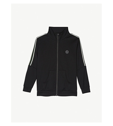 SOMETIME SOON标志条纹履带夹克 4-14 岁 (黑色