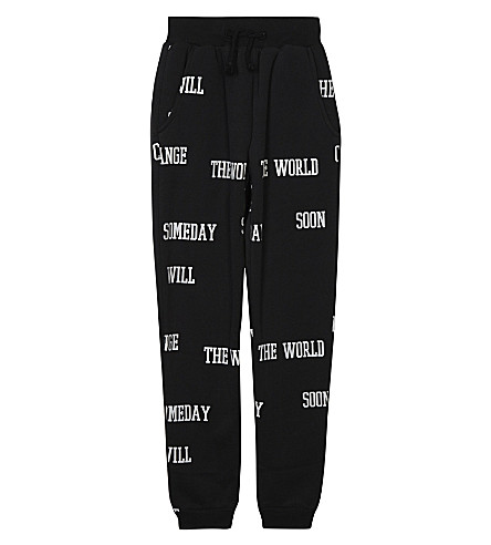 SOMEDAY SOON Slogan cotton joggers 4-14 years (Black