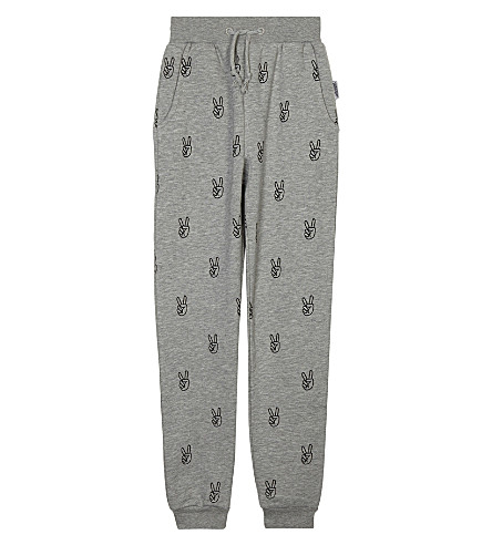 SOMEDAY SOON Power Peace cotton joggers 4-14 years (Grey+melange