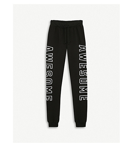 SOMEDAY SOON Signal slogan cotton-blend jogging bottoms 4-14 years (Black