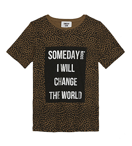 SOMEDAY SOON Leopard print cotton T-shirt 4-14 years (Khaki leo aop