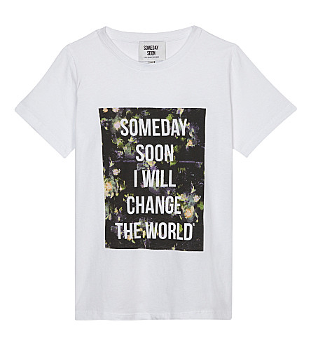 SOMETIME SOON Floral slogan cotton T-shirt (White