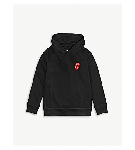 少年抹布 X 滚石标语-刺绣棉 hoody 3-14年份 (黑色