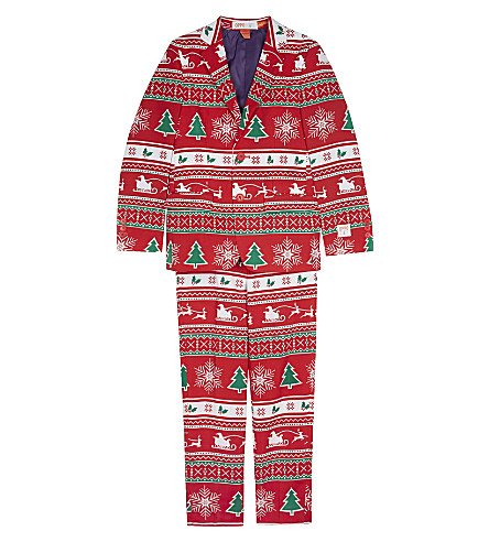 OPPOSUITS Winter Wonderland suit and clip-on tie 10-16 years (Red/multi