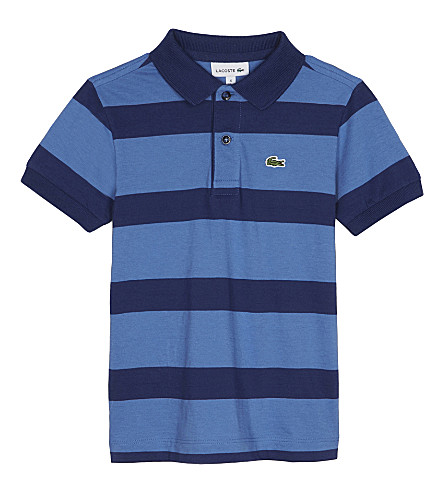 LACOSTE Striped cotton polo shirt 4-16 years (Wave+blue