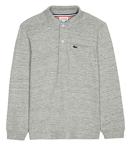 LACOSTE Heathered cotton polo top 4-16 yeras (Silver+chine