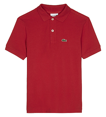 LACOSTE Crocodile cotton polo shirt 4-16 years (Red