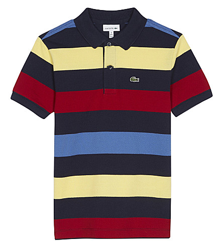 LACOSTE Striped cotton polo shirt 4-16 years (Navy/blue/ladybird