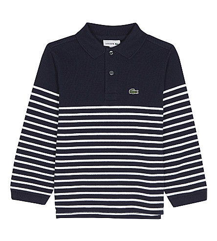 LACOSTE Striped cotton polo top 4-16 years (Navy+blue/white