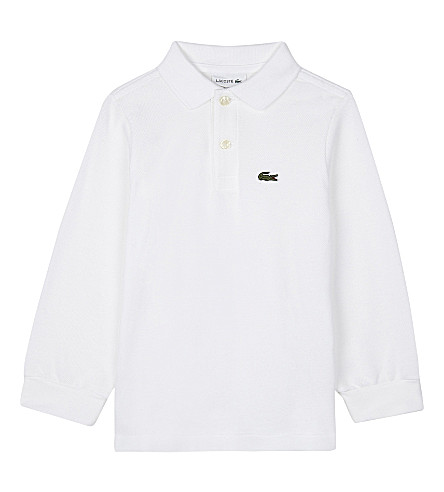 LACOSTE Long-sleeved cotton polo shirt 4-16 years (White