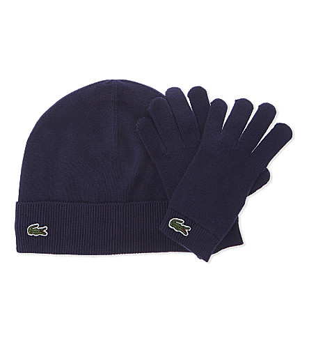 LACOSTE Knitted beanie and gloves set 8-10 years (Navy+blue