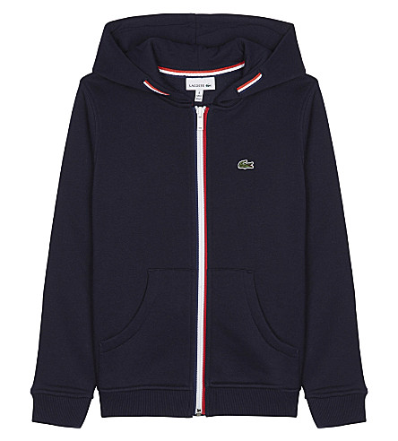 LACOSTE Striped cotton hoody 4-16 years (Navy+blue