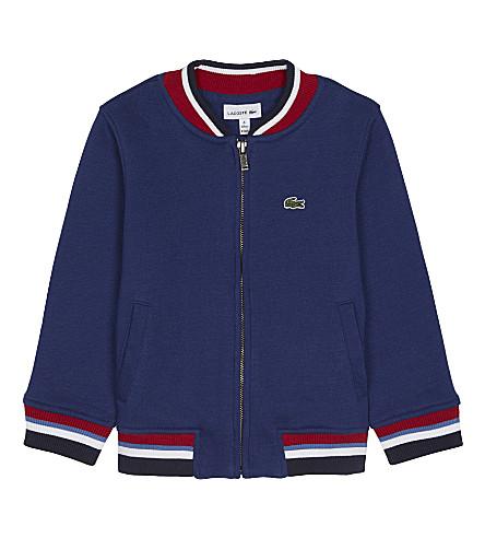 LACOSTE Stripe trim cotton zipped sweatshirt 4-16 years (Methylene