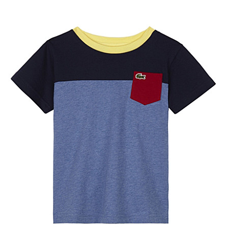 LACOSTE Block panel cotton T-shirt 4-16 years (Chine/navy+blue