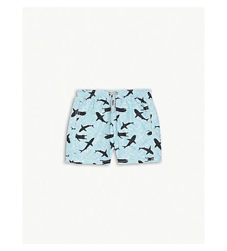 MC2 SAINT BARTH Shark-print swim shorts 4-16 years (Aqua