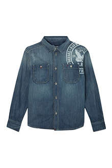 DIESEL Shoulder logo denim shirt 4-16 years