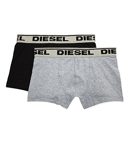 DIESEL Logo waistband cotton boxer trunks pack of two 6-16 years (Black+/+grey