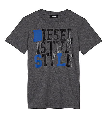 DIESEL Is The Style logo cotton t-shirt 6-16 years (Grey